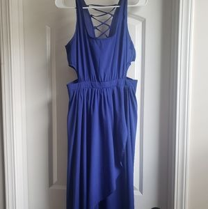 Blue Side Cut Cross Back High Low Front Long Dress